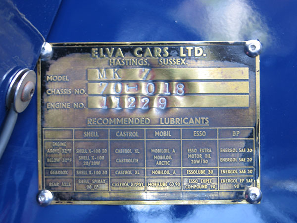 Elva Cars, Hastings, Sussex, Model Mk 7, Chassis 70-018