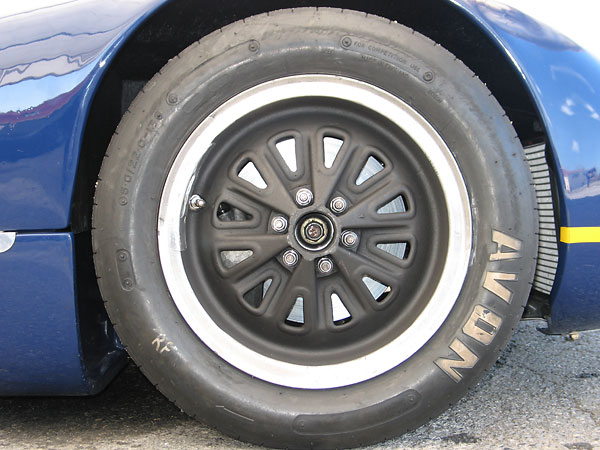 Reproduction Elva magnesium racing wheels from Lee Chapman Racing (13x6 front and 13x7 rear.)