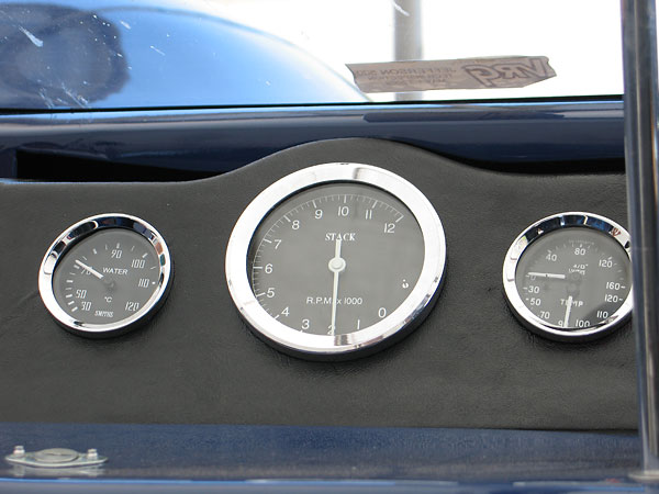 Smiths water temperature gauge, Stack tachometer, and Smiths dual oil pressure/temperature gauge.