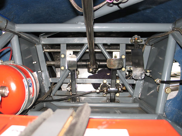 Any sort of bulkhead between pedal box and master cylinders is missing on this particular Merlyn 11A.