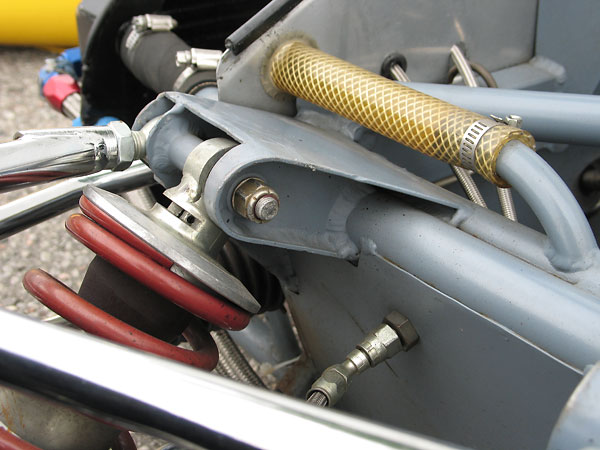 Rebound adjuster at the top of the shock absorber.