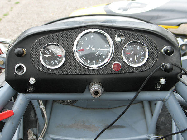 Smiths coolant temperature gauge, chronometric tachometer, and oil pressure gauge.