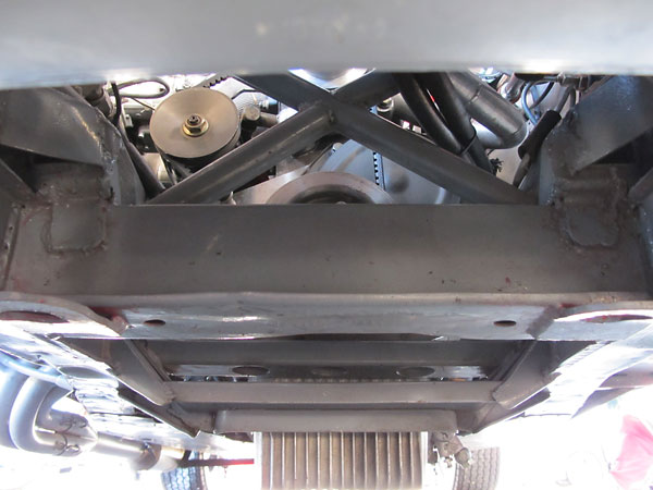 Reinforced Triumph TR3 frame, with crossmember added between front suspension pick-up points.