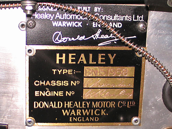 4: Chassis plate with Geoff Healey and Roger Menadue signatures