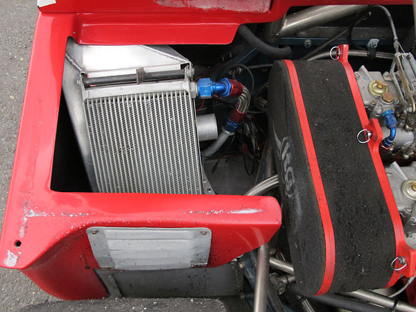 An oil cooler is mounted on the left. Originally, it would have been mounted on the right.