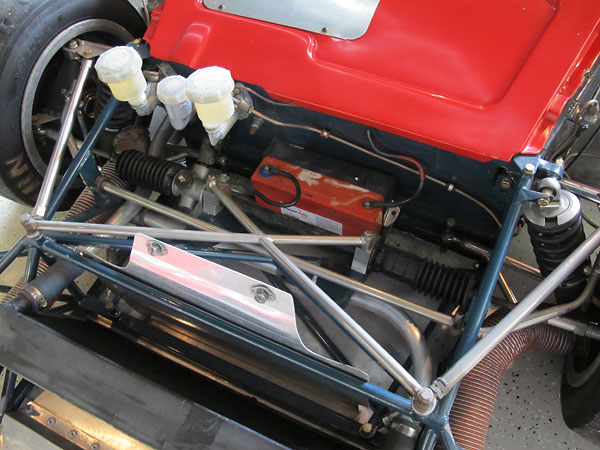 Radiator plumbing is currently routed on driver side only because that suits the Cosworth YB engine.