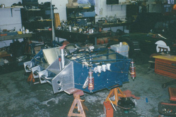 Bob Machinist's Chevron B21 during restoration at Vintage Racing Services in Connecticut (circa 1999.)