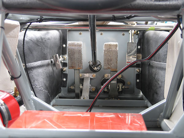 Clutch, brake and throttle pedals on a Brabham BT30.