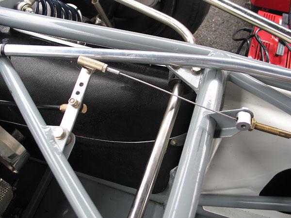 Throttle linkage on  Brabham BT30.
