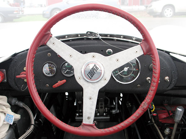 Leather wrapped aluminum steering wheel.