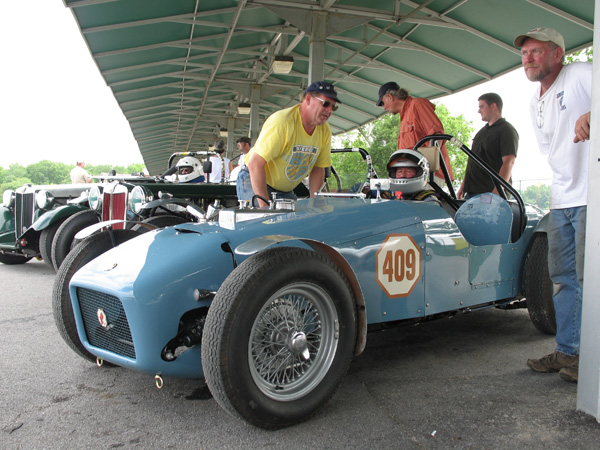 Dan Leonard on the pre-grid at Virginia International Raceway.