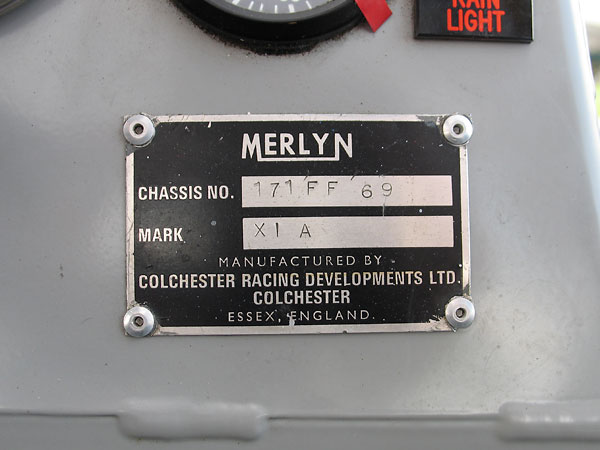 MERLYN Chassis No.: 171 FF 69 / Mark: XI A
