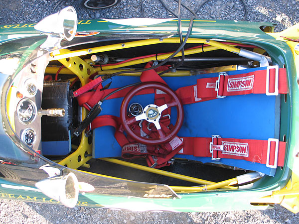 The Lotus 51 originally came with a molded fiberglass seat. Dick Leehr uses a Backsaver pad instead.