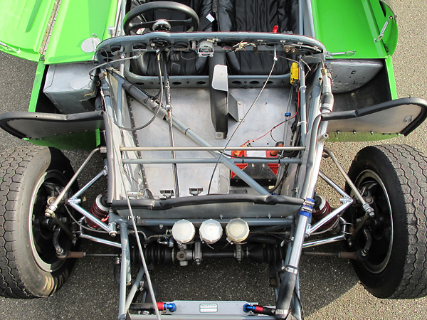 Unequal length, non-parallel dual wishbone suspension.