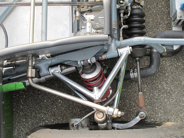 Koni double-adjustable aluminum-bodied coilover shock absorbers, with Eibach springs.