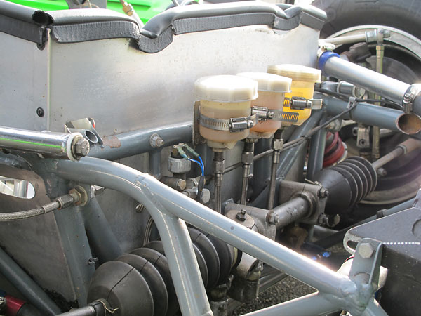 Dual Girling brake master cylinders and clutch master cylinder, all with remote reservoirs.