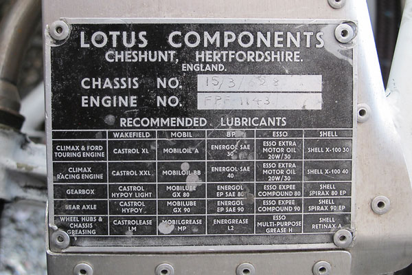 Lotus 15 Chassis number 15/3/628, engine number FPF 1143.