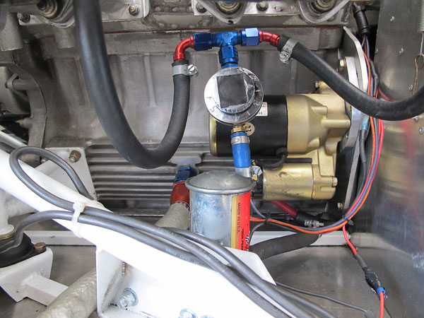 Facet (Bendix Style) electric fuel pump and Mr Gasket adjustable (1-6psi) fuel pressure regulator.