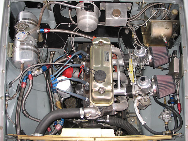 Engine compartment plumbing.