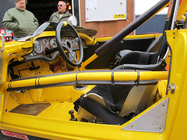 The rollcage's side intrusion bar is curved to provide much needed elbow room.