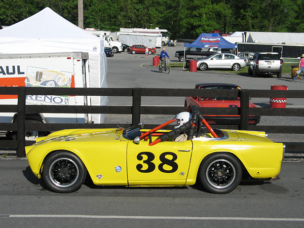 With 2138cc (stock) engines, Triumph TR4 racecars compete in SCCA's D-Production class.
