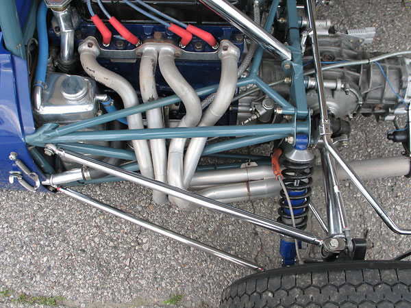 This custom 4-into-1 exhaust header was evidently pieced together from a box of bends.