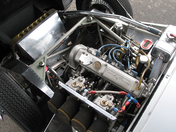 The Coventry Climax engine features aluminum block and cylinder head, and weighs about 250 pounds.