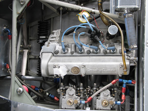 Lotus canted the Coventry Climax engine ten degrees to facilitate streamlining the body.