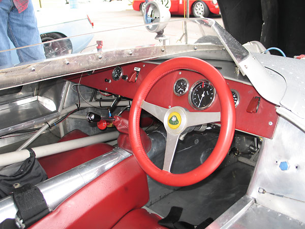With tonneau cover and windscreen removed, the Lotus Eleven's interior would be positively roomy.