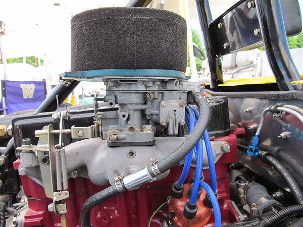 RamFX foam air filter atop a Weber 32/36 DGAV carburetor. BAT throttle linkage.