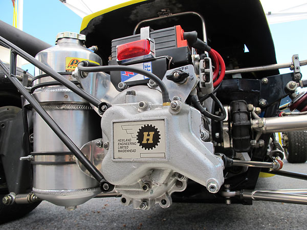 A new Peterson Fluid Systems engine oil reservoir is mounted by the transaxle.