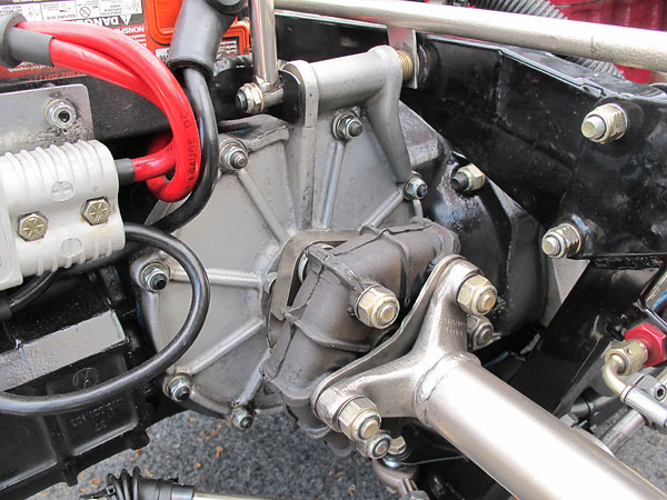 Note that a thick adapter is installed so that rubber donuts can be used in lieu of CV joints with these particular transaxle output shafts.