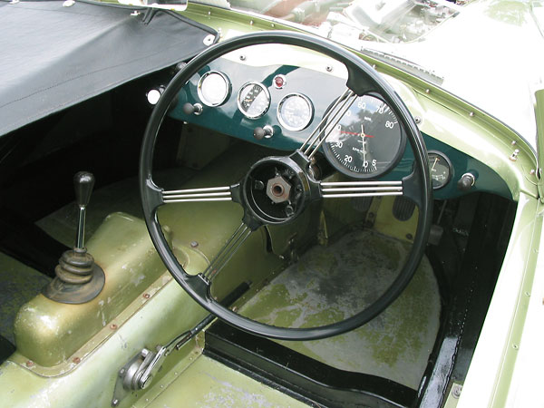 A stock MGA steering wheel was utilized, albeit with the center removed.