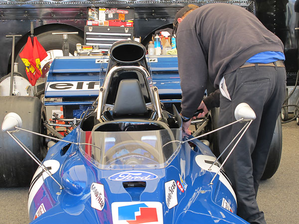 Mirrors are mounted outboard for a view around the oil coolers.