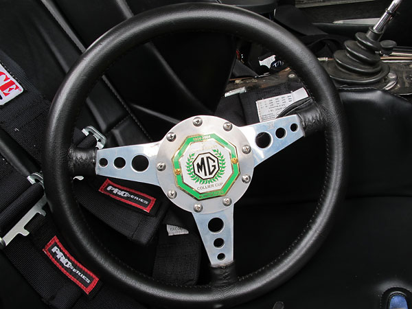 Moto-Lita steering wheel (installed backwards on its hub.)