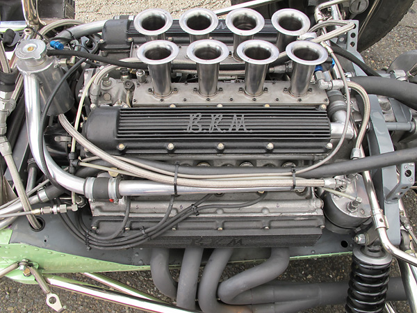 The BRM engine's camshafts were gear driven. Rival Climax V8s used chain-driven camshafts.