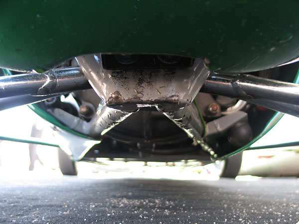 Lower inboard suspension pivot points.