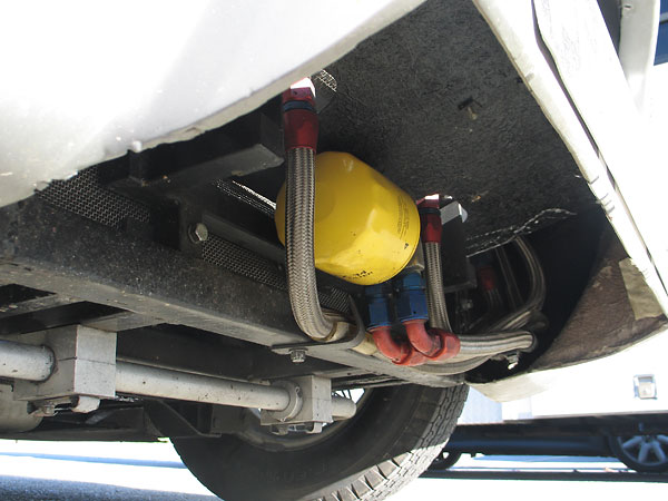 Remotely mounted (Pennzoil PZ-34) oil filter, and oil cooler connections.