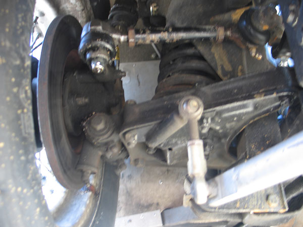 Triumph TR3 front dual wishbone front suspension, upgraded with SPAX shock absorbers.