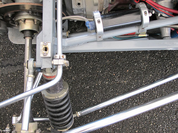 Penske Racing Shocks (PRS) shock absorbers with remote reservoirs.