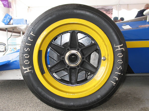 Front: Lola wheels with Hoosier Road Racing 24.0/11.0/15 Tires, R45B compound.