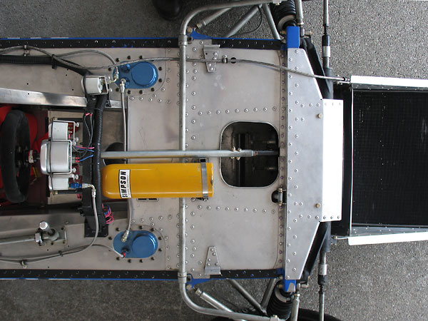 Notice the very high proportion of blind rivets on this racecar's monocoque chassis.
