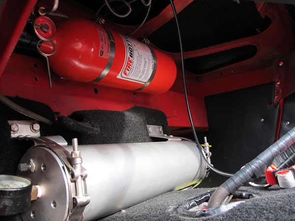 FireBottle fire suppression system. Accusump oil reservoir.