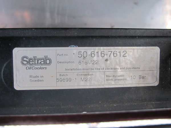 Setrab oil cooler (part# 50-616-7612).