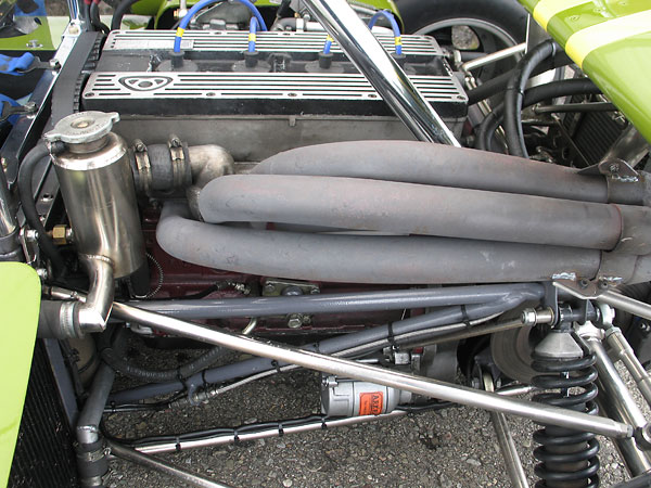 Custom four into one exhaust headers.