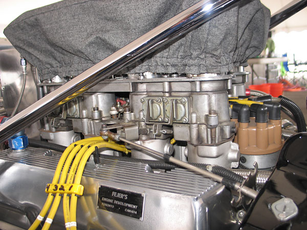 Doug Nash intake manifold with dual Autolite inline four-barrel carburetors.