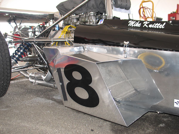 The aluminum sidepods are newly fabricated replacements.