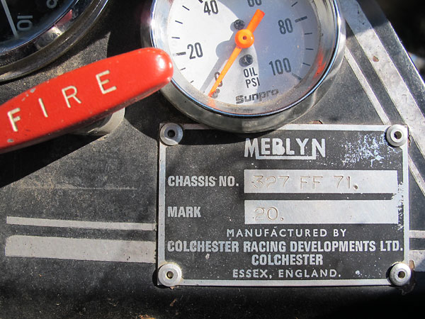 MERLYN Mark 20, Chassis# 327 FF 71. Colchester Racing Developments Ltd., Essex, England.