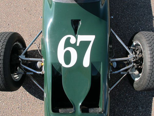 The dramatically updated anti-dive front suspension of the Merlyn Mk20 Formula Ford (circa 1971.)
