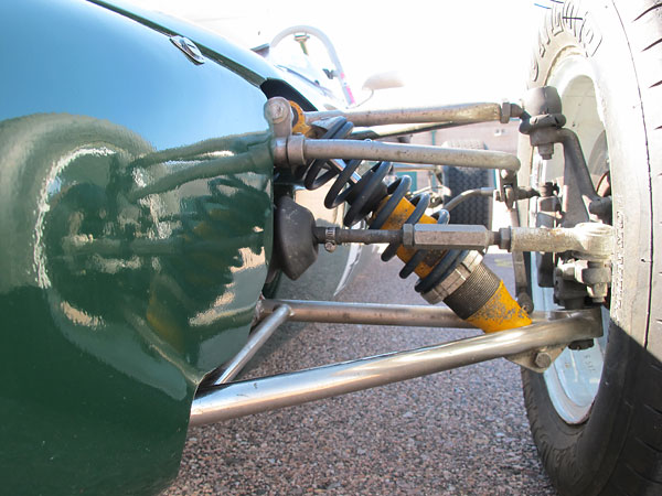 Anti-dive: A-arm mounting points on the chassis converge to the rear.